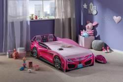מיטת מעבר בצורת מכונית ורודה