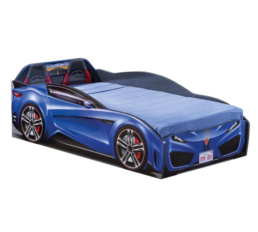 מיטת מעבר מכונית כחולה